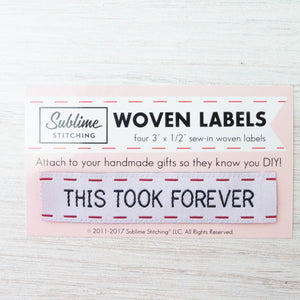 Woven Labels - This Took Forever Labels - Snuggly Monkey