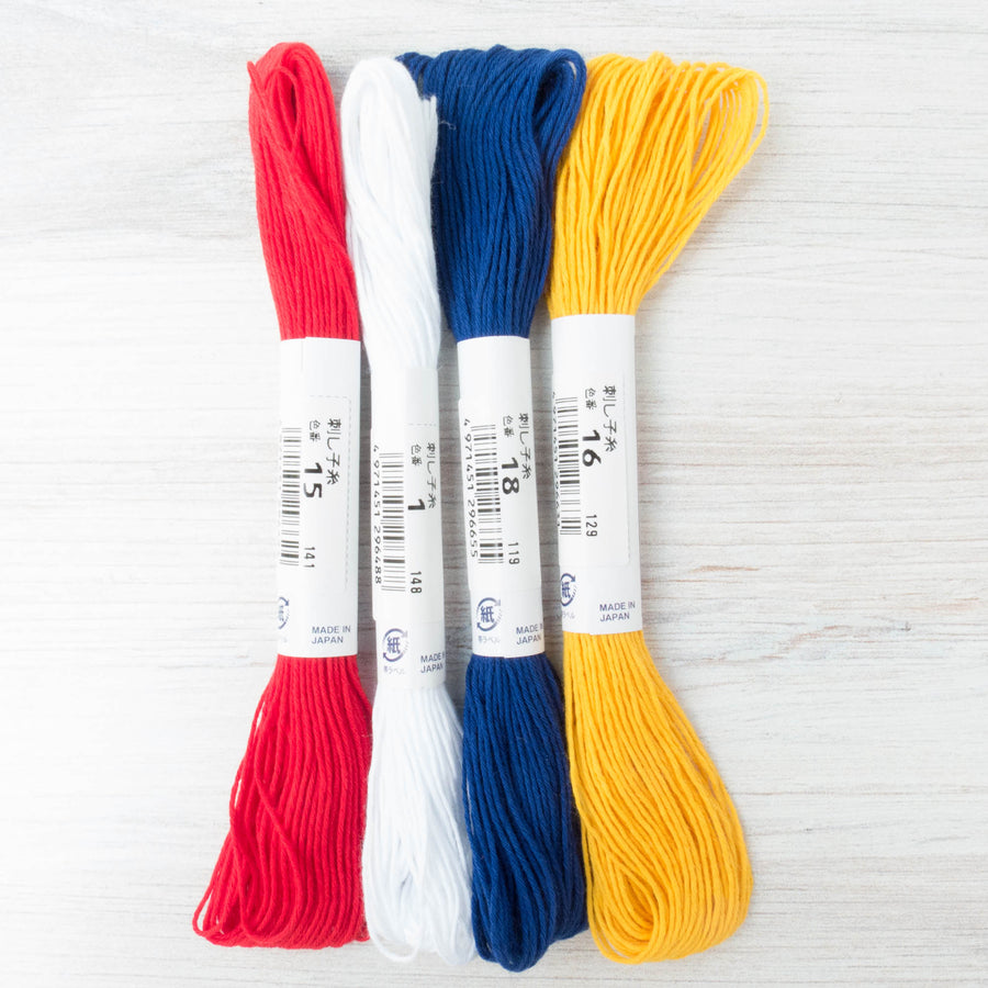 Sashiko Thread Set - Primary Colors Sashiko - Snuggly Monkey