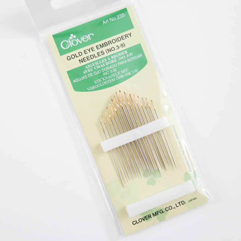 Clover Gold Eye Embroidery Needles (No 3-9) Needles - Snuggly Monkey