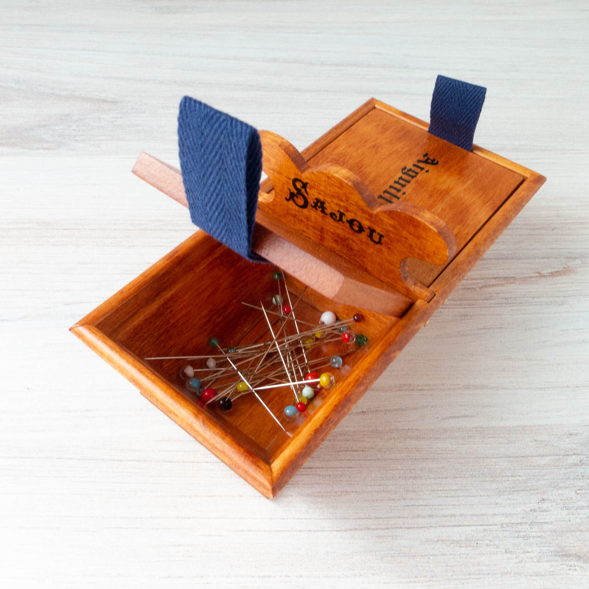 Sajou Wooden Pins and Needles Storage Box Pincushion - Snuggly Monkey
