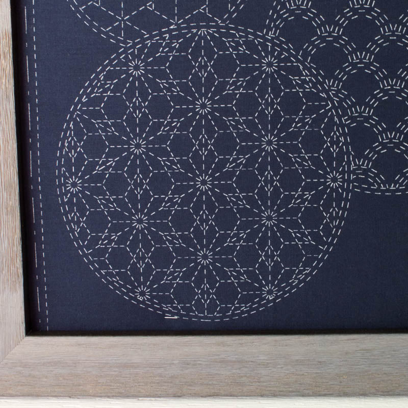 Mixed Pattern Sashiko Embroidery Sampler (Navy)