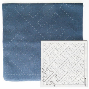 Sashiko Embroidery Kit -Sayagata (No 204) Sashiko - Snuggly Monkey