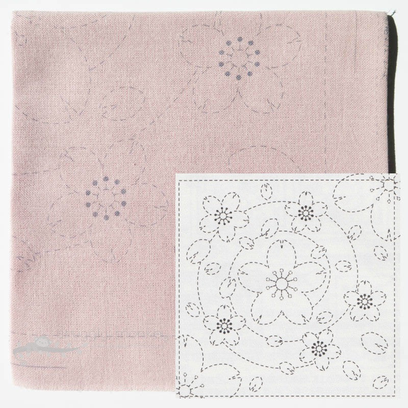 Sashiko Embroidery Kit - Pink Sakura (No 37) Sashiko - Snuggly Monkey