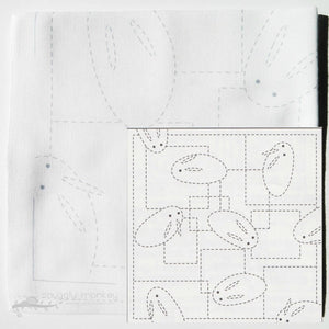 Sashiko Kit - Bunnies on White (No 42)