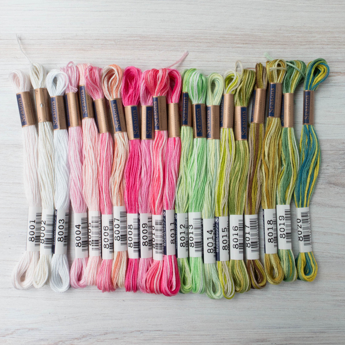 Cosmo Seasons Variegated Embroidery Floss Set - 8000s Pink and Greens