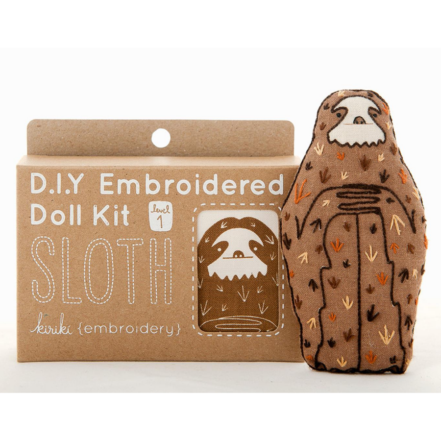 Sloth Plushie Embroidery Kit by Kiriki Press Embroidery Kit - Snuggly Monkey