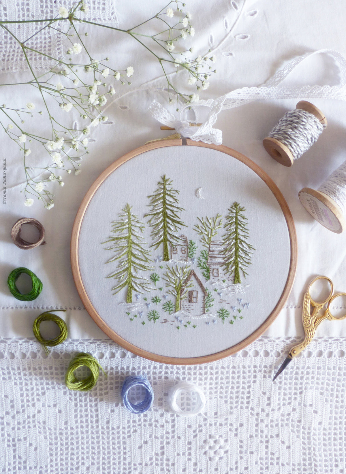 "Embroidery Kit : 6"" Snowy Night by Tamar Nahir"