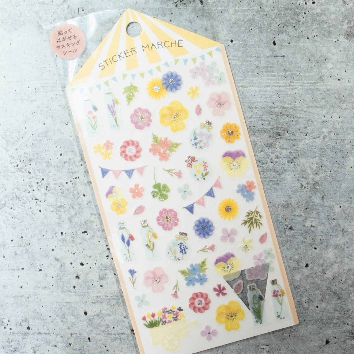 Midori Sticker Marche Stickers - Sparkle Flowers