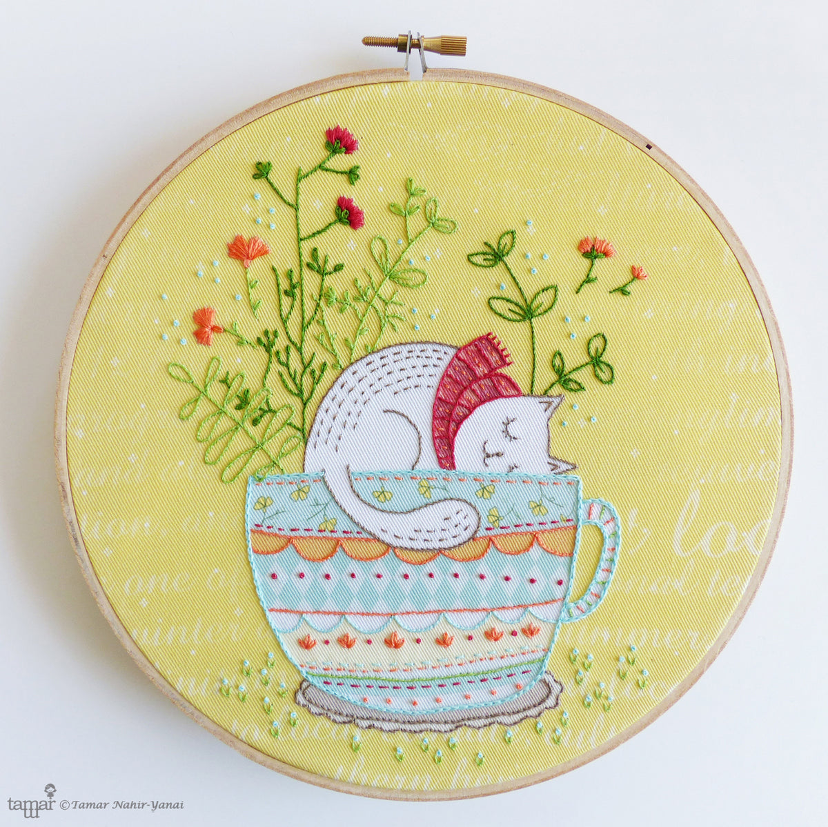 "Embroidery Kit : 8"" Sweet Dreams by Tamar Nahir Embroidery Kit - Snuggly Monkey"