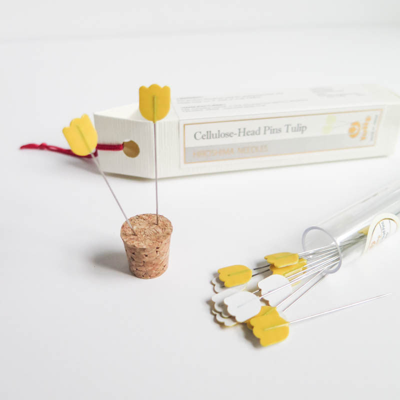 Tulip Flower Head Pins by Hiroshima Needles - YELLOW Needles - Snuggly Monkey