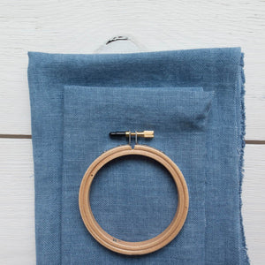 Weeks Dye Works Hand Dyed Linen - Denim 32 ct Fabric - Snuggly Monkey