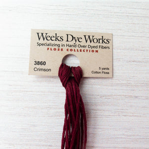 Weeks Dye Works Hand Over Dyed Embroidery Floss - Crimson (3860) Floss - Snuggly Monkey