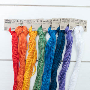 Perle Cotton Thread Set - Weeks Dye Works Size 3 Rainbow Perle Cotton - Snuggly Monkey