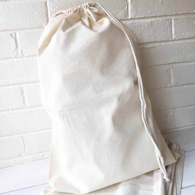 "14"" x 20"" Muslin Drawstring Bag Bags - Snuggly Monkey"