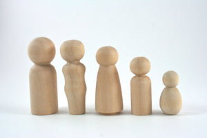 Wood Peg Dolls - 5 Person Family Set