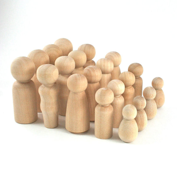 20 Wood Peg Dolls Set Peg Dolls - Snuggly Monkey