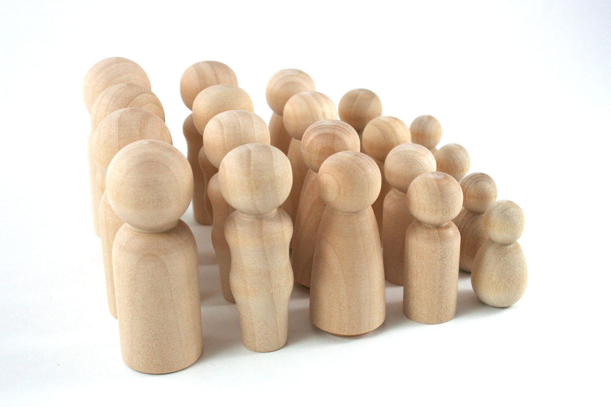 35 Wooden Figurine Family Set Peg Dolls - Snuggly Monkey