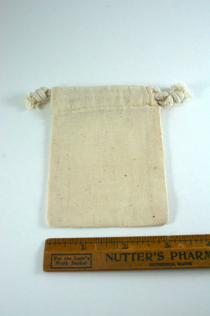 "Cotton Muslin Pouches - Small Drawstring Cotton Bags (3""x4"")"