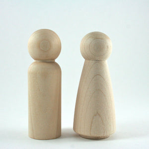 Tall Peg Dolls for Wedding Cake Topper or Waldorf Wooden Figurine Unfinished Wood - Snuggly Monkey