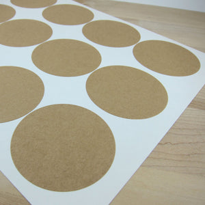 Mason Jar Labels Circular Kraft Stickers - 2.5 inch Circles Labels - Snuggly Monkey