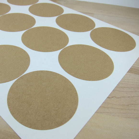 Mason Jar Labels Circular Kraft Stickers - 2.5 inch Circles