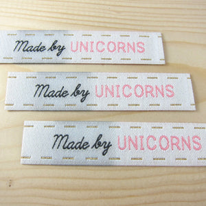Sew-In Woven Labels - Made By Unicorns Labels - Snuggly Monkey