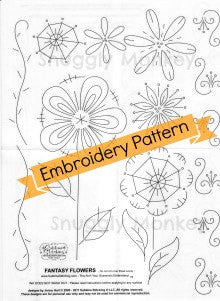 Fantasy Flowers Hand Embroidery Pattern | Sublime Stitching Patterns - Snuggly Monkey