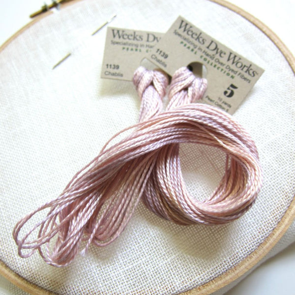 pink weeks dye works perle cotton