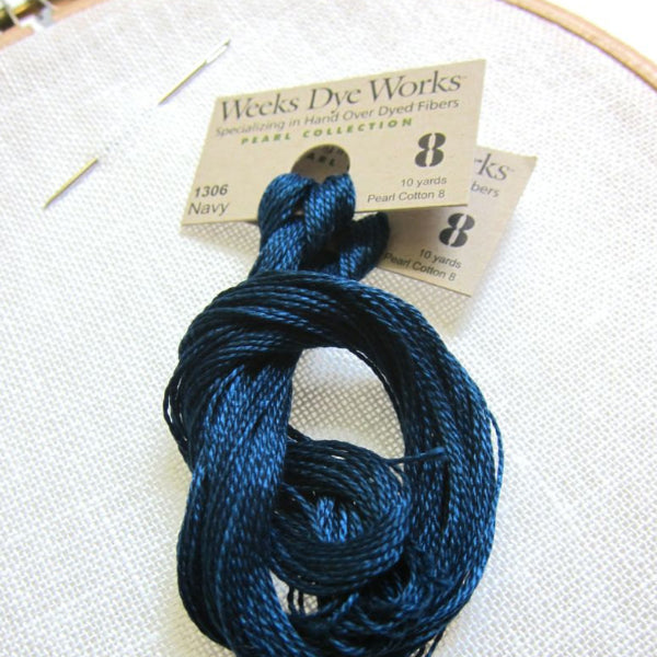 Weeks Dye Works Hand Over-Dyed Pearl Cotton - Size 8 Navy