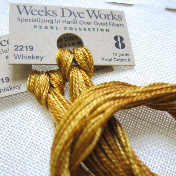 Weeks Dye Works Hand Over-Dyed Perle Cotton - Size 8 Whiskey Perle Cotton - Snuggly Monkey