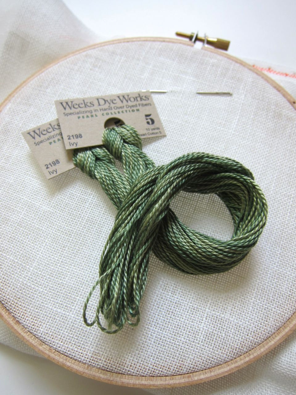 Pearl Cotton Thread - Weeks Dye Works Size 5 Ivy Perle Cotton - Snuggly Monkey
