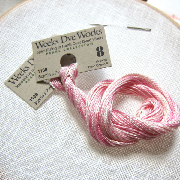 Weeks Dye Works Hand Over-Dyed Perle Cotton - Size 8 Sophia's Pink Perle Cotton - Snuggly Monkey
