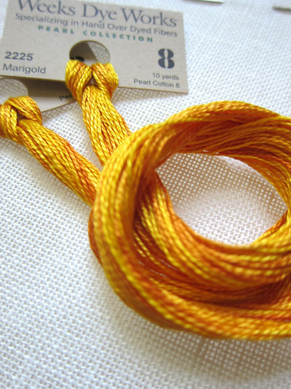 Weeks Dye Works Hand Over-Dyed Pearl Cotton - Size 8 Marigold Perle Cotton - Snuggly Monkey