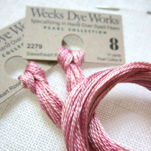 Sweetheart Rose Weeks Dye Works Perle Cotton Floss - Size 8 Perle Cotton - Snuggly Monkey