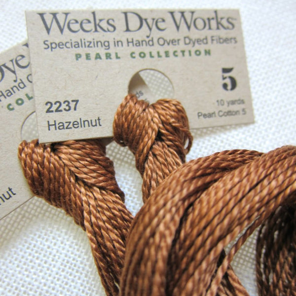 Weeks Dye Works Hand Over-Dyed Pearl Cotton - Size 5 Hazelnut Perle Cotton - Snuggly Monkey