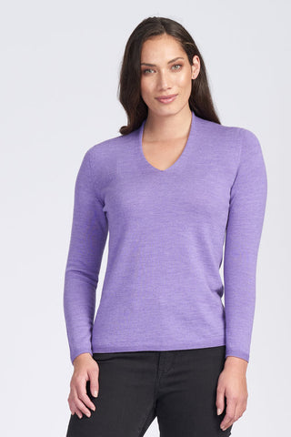 Classic V Neck Jumper - Amethyst - Size 12/S to 16/L