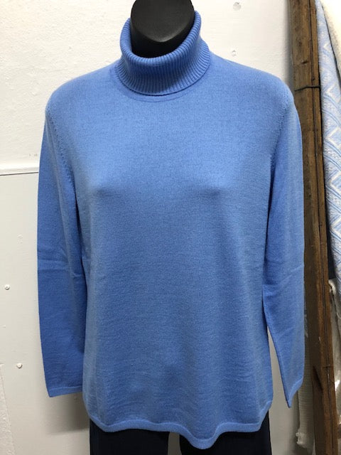 Classic Polo Neck Jumper - Sky