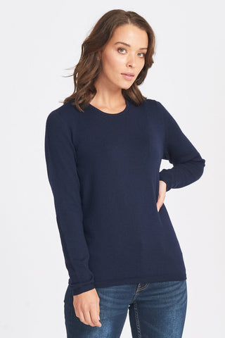Classic Crew Neck Jumper - Navy - Size 12/S
