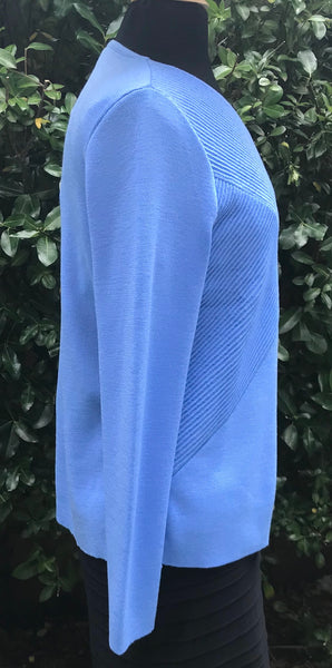 V Neck Rib Wrap Jumper - Sky