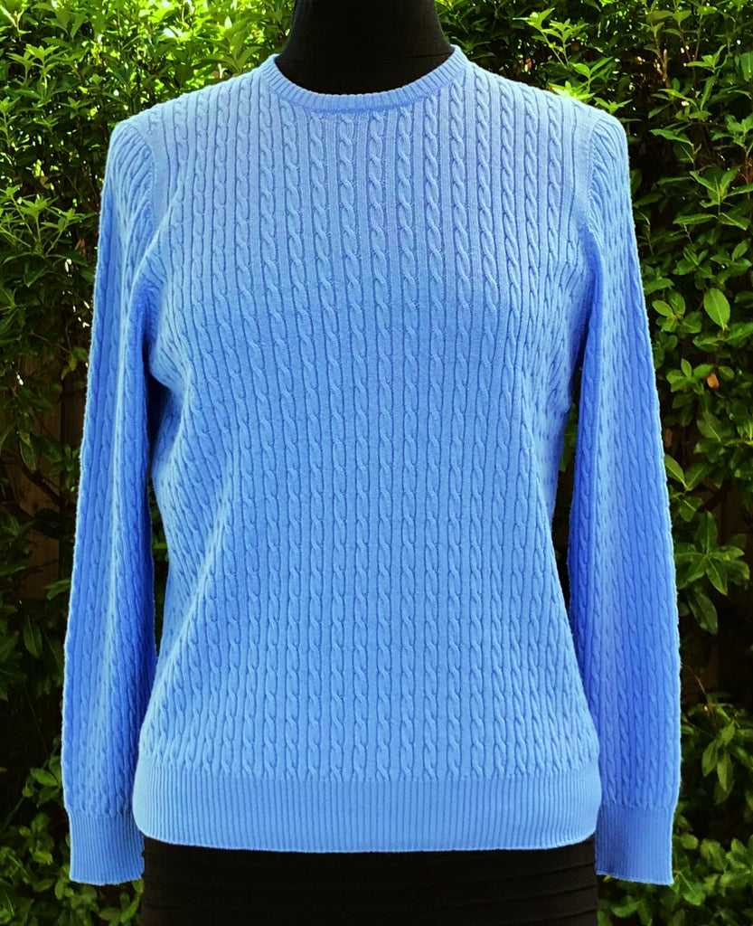 Cable Crew Neck Jumper - Sky