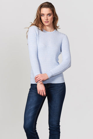 Cable Crew Neck Jumper - Chambray - Size 14/M