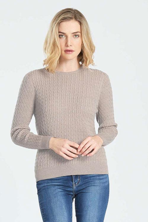 Cable Crew Neck Jumper - Sand
