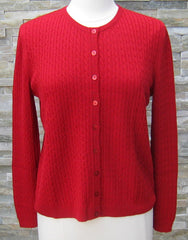 Cable Cardigan - Chilli - REDUCED BY 40%
