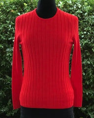 Crew Neck Rib Jumper - Poppy