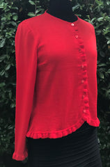 Frill Trim Cardigan - Poppy