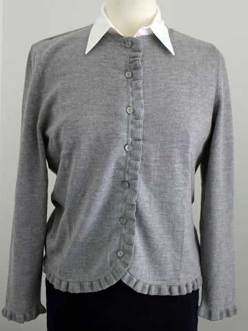 Frill Trim Cardigan - Light Pewter