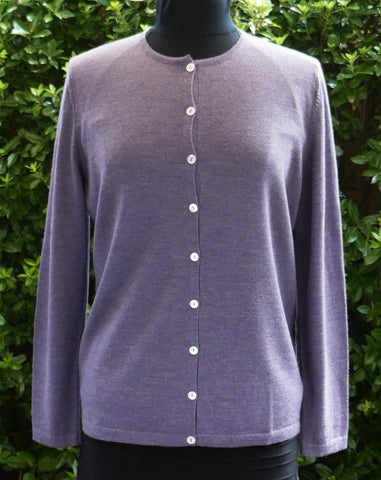 Button Classic Cardigan - Thistle - Size 16/L & 18/XL