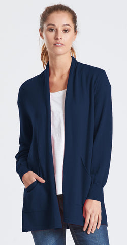 Long Open Front Cardigan - Navy
