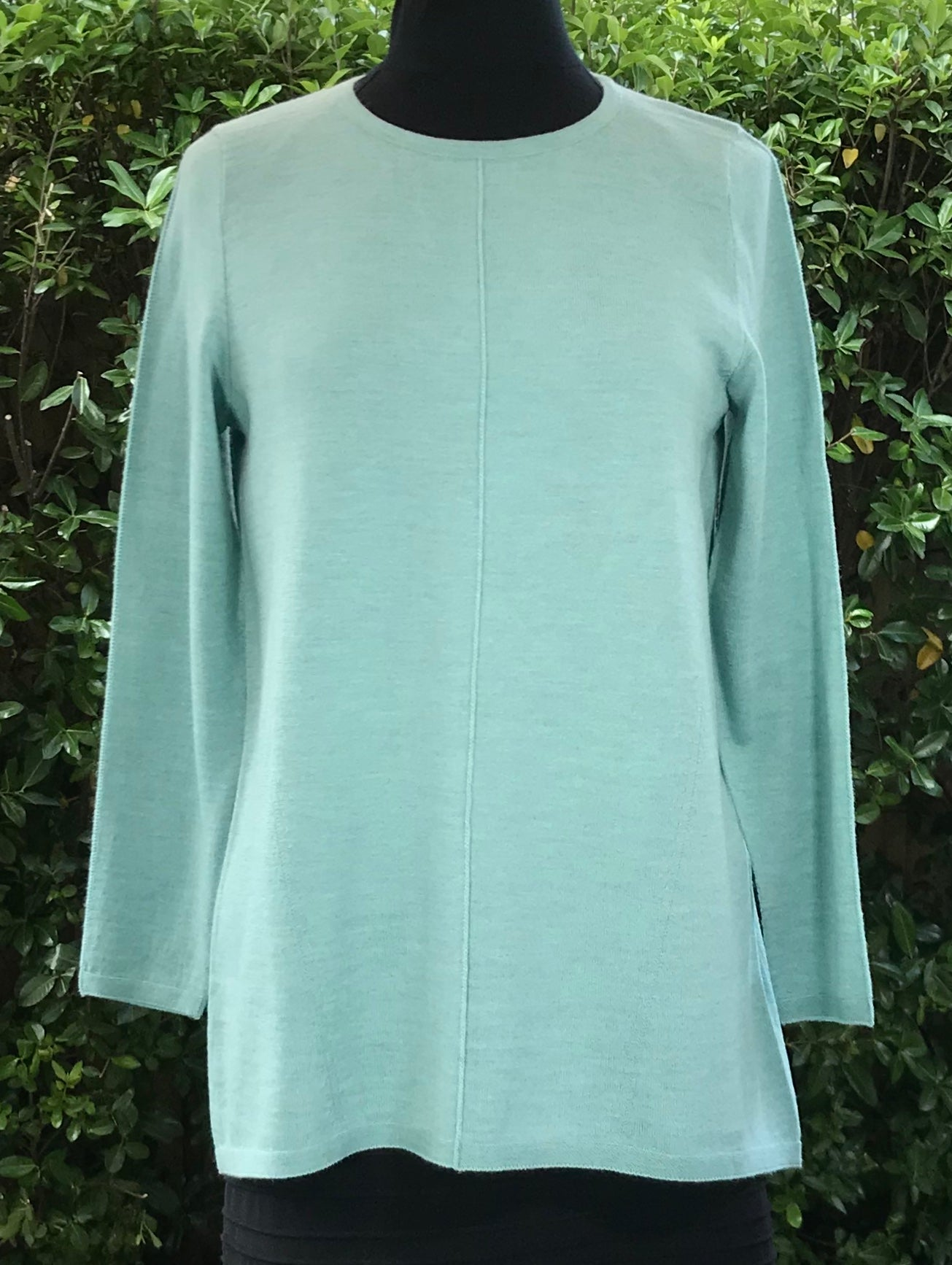 Round Neck Flared Back Jumper - Seafoam