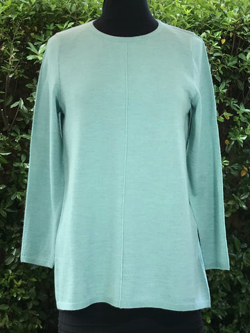 Round Neck Flared Back Jumper - Seafoam - REDUCED BY 40%